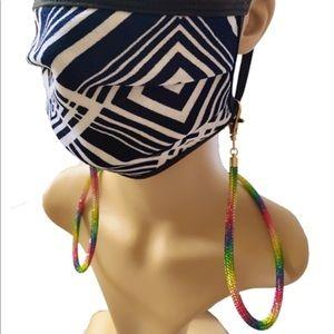 Accessories - Handmade Rainbow Rhinestone Clip Face Mask Holder
